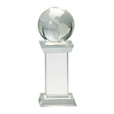 8 1/4 Crystal Globe on Clear Tower